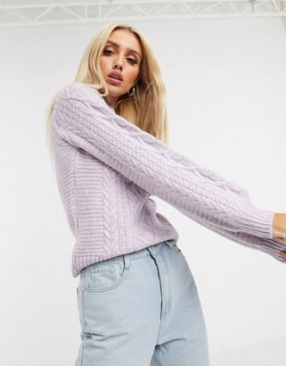 Lipsy balloon sleeve jumper in lilac