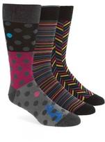 Bugatchi Men's Assorted 3-Pack Mercerized Cotton Blend Socks