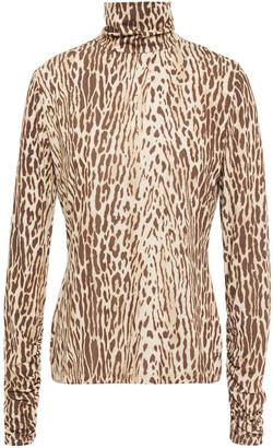 Zimmermann Leopard-print Stretch-jersey Turtleneck Top