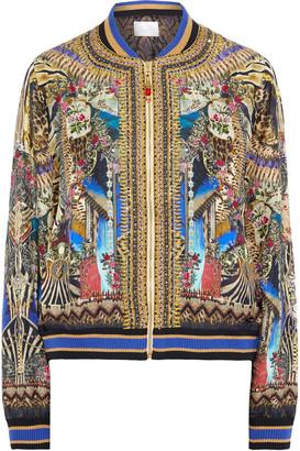 Camilla Stronger Together Crystal-embellished Printed Silk-twill Bomber Jacket