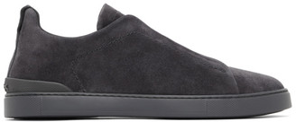 Ermenegildo Zegna Grey Suede Triple Stitch Sneakers