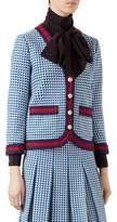 Gucci Web-Trimmed Knit V-Neck Jacket