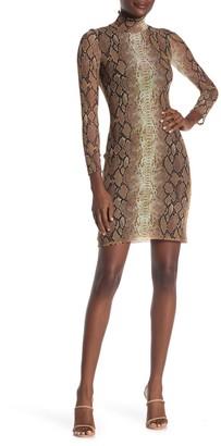 Velvet Torch Mock Neck Mesh Sheath Mini Dress