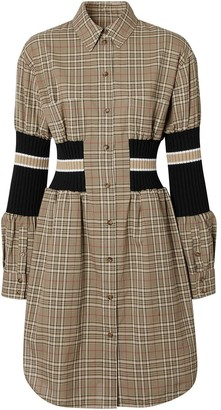 Burberry Rib Knit-Panel Check Shirt Dress