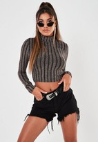 Missguided Black Sparkle Striped Crop Top