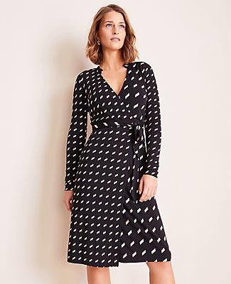 Ann Taylor Geo Striped Matte Jersey Wrap Dress