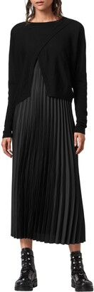 AllSaints Lori Pleated Slipdress & Sweater