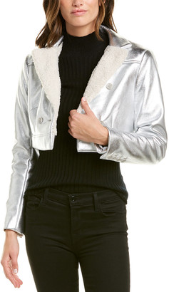 BCBGMAXAZRIA Metallic Woven Jacket