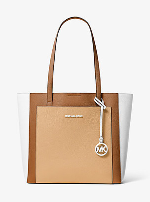 MICHAEL Michael Kors MK Gemma Large Tri-Color Pebbled Leather Tote - Acrn/buttrnt - Michael Kors