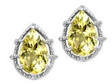 Tommaso design Studio Tommaso Design Pear Shape 10x7mm Genuine Lemon Quartz and Diamond Earrings 14k