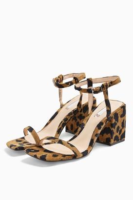 Topshop Womens Nora Leopard Print Square Block Heels - True Leopard