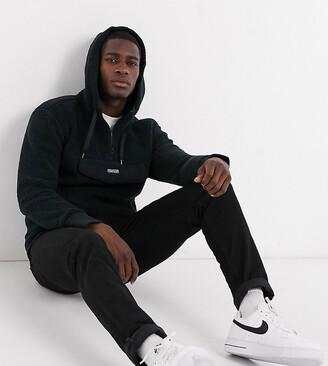 Hollister Asos Exclusive borg half zip overhead hoodie with front pocket in black