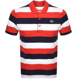 Lacoste Sport Stripe Polo T Shirt Red