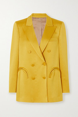 BLAZÉ MILANO Everyday Double-breasted Satin Blazer - Mustard