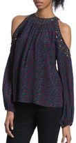 Plenty by Tracy Reese Embellished Cold Shoulder Blouse