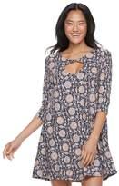 Trixxi Juniors' Floral Twist-Front Swing Dress