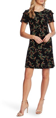 CeCe Blustery Buds Ruffle Short Sleeve Minidress