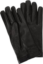 Gucci Black Logo-embossed Leather Gloves