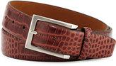Neiman Marcus 35mm Crocodile-Embossed Leather Belt, Dark Brown