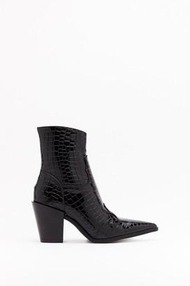 Nasty Gal Womens Gotta Point Patent Croc Boots - Black - 3