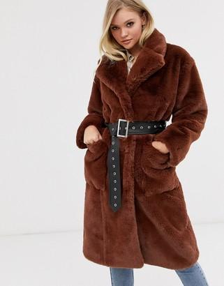 Neon Rose oversized faux fur coat with belt