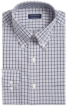 Club Room Men's Classic/Regular-Fit Non-Iron Performance Stretch Double Gingham Check Dress Shirt, Created for Macy's