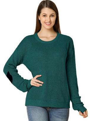 Allegra K Women's Pullover Drop Shoulder Elbow Cat Patch Loose Sweater Pullover Jumper M Green