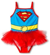 Superman Supergirl Toddler Girls' 1-Piece Swimsuit - Red