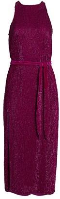 retrofete Tilly Sequin Tie-Sash Midi Dress