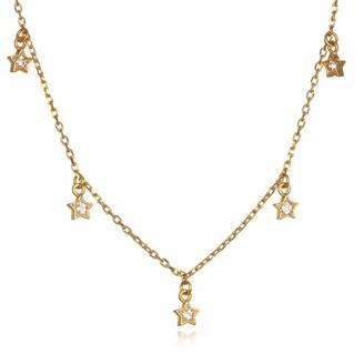 "Satya Jewelry Women's White Topaz Gold Star Choker Necklace (14-inch +2"" ext) One Size"