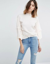 Warehouse Ruffle Sleeve Sweater
