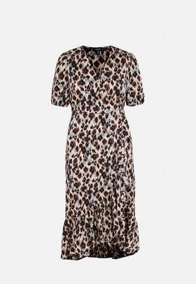 Missguided Plus Size Brown Leopard Print Frill Midi Dress