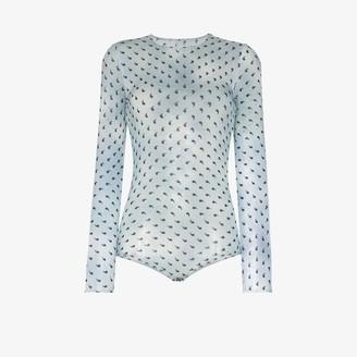 Maison Margiela Apostrophe Print Silk Bodysuit
