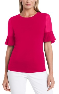 Vince Camuto Petite Flutter-Sleeve Mixed-Media Top