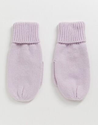French Connection speckle knit mitten gloves in lavender co-ord