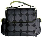 OiOi Messenger Diaper Bag - Grey Dot with Green by Baby