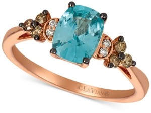LeVian Le Vian Pomegranate Garnet (2-3/4 ct. t.w.) & Chocolate and Vanilla Diamond (1/5 ct. t.w.) Ring in 14k Rose Gold (Also Available in Blueberry Zircon & Peach Morganite)