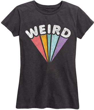 Instant Message Women's Women's Tee Shirts HEATHER - Heather Charcoal 'Weird' Rainbow Relaxed-Fit Tee - Women & Plus