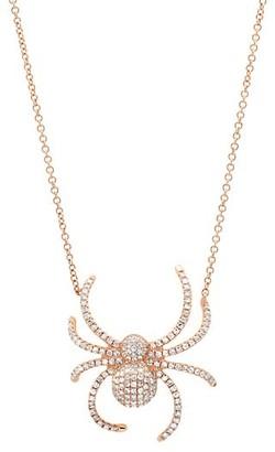 Samira 13 18K Rose Gold & Diamond Pave Spider Pendant Necklace