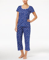 Charter Club Scoop-Neck Top and Cropped Pants Printed Knit Pajama Set, Only at Macy's