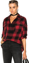 R 13 X Oversized Plaid Shirt in Checkered & Plaid,Red.
