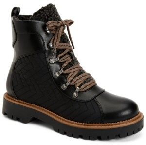 Style&Co. Style & Co Morggan Lace-Up Lug Sole Combat Booties, Created for Macy's Women's Shoes