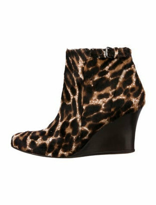 Lanvin Ponyhair Ankle Boots Brown