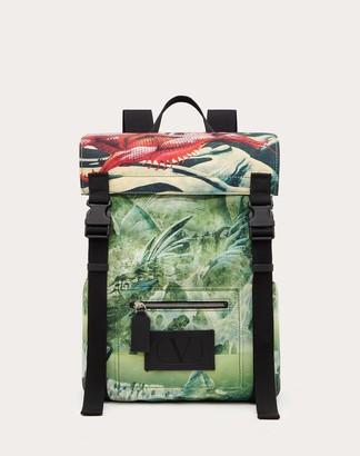 Valentino Garavani Uomo Red Dragon Nylon Backpack Man Silver Polyester 41%, Polyurethane 16%, Acrylic 2% OneSize