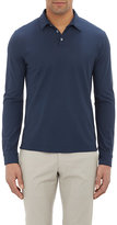 Zanone Men's Slub Polo Shirt-NAVY