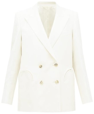 BLAZÉ MILANO Everynight Double-breasted Floral-jacquard Blazer - Womens - Cream