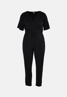 Missguided Size Black Jersey Wrap Playsuit