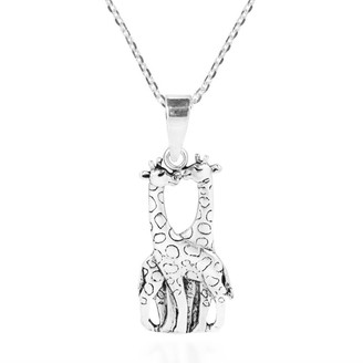 Aeravida Handmade Giraffe Couple in Love Doublesided Sterling Silver Necklace