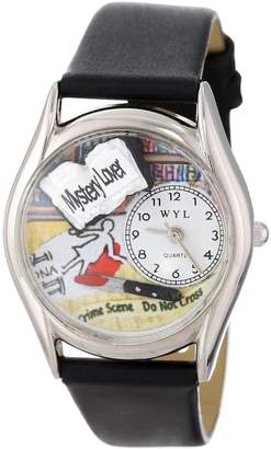 Whimsical Watches Mystery Lover Black Leather and Silvertone Unisex Quartz Watch with White Dial Analogue Display and Multicolour Leather Strap S-0450002