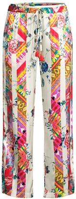 Johnny Was Esplanad Wide-Leg Floral Silk Trousers